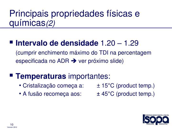 Principais propriedades físicas e químicas