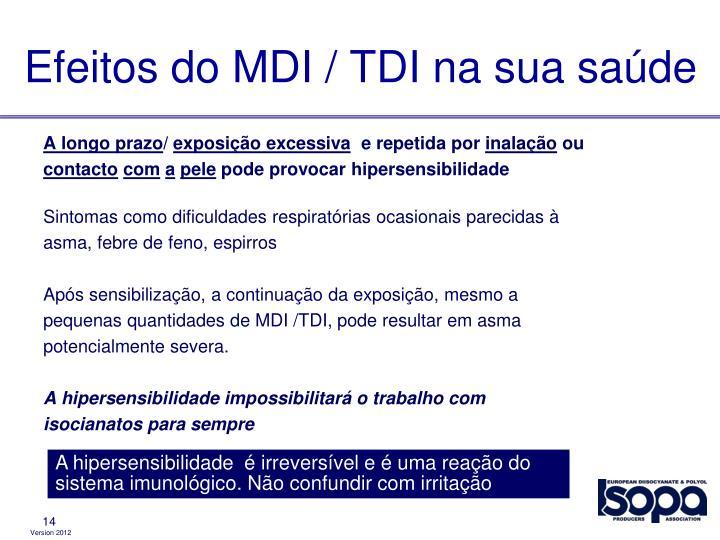 Efeitos do MDI / TDI na sua saúde