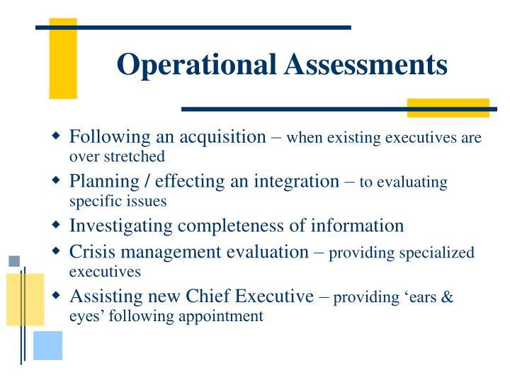 Operational Assessments