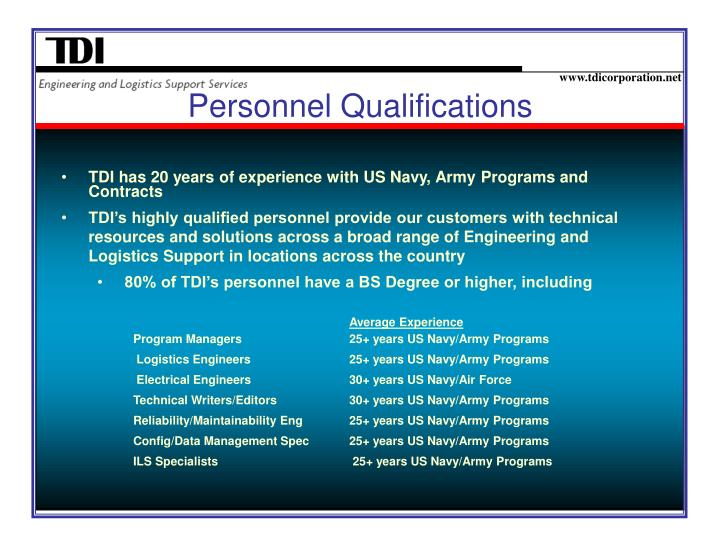 Personnel qualifications