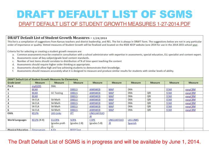 DRAFT Default List of SGMs