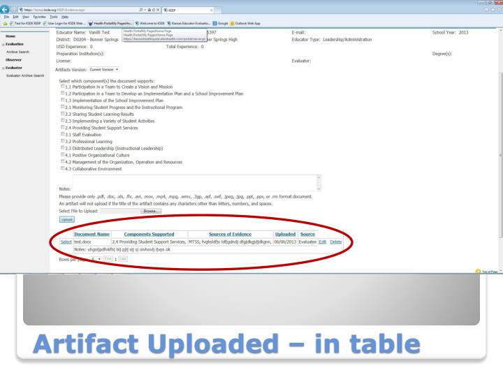 Artifact Uploaded – in table