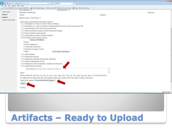 Artifacts – Ready to Upload
