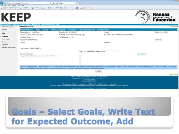 Goals – Select Goals, Write Text for Expected Outcome, Add