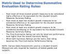 matrix used to determine summative evaluation rating rules
