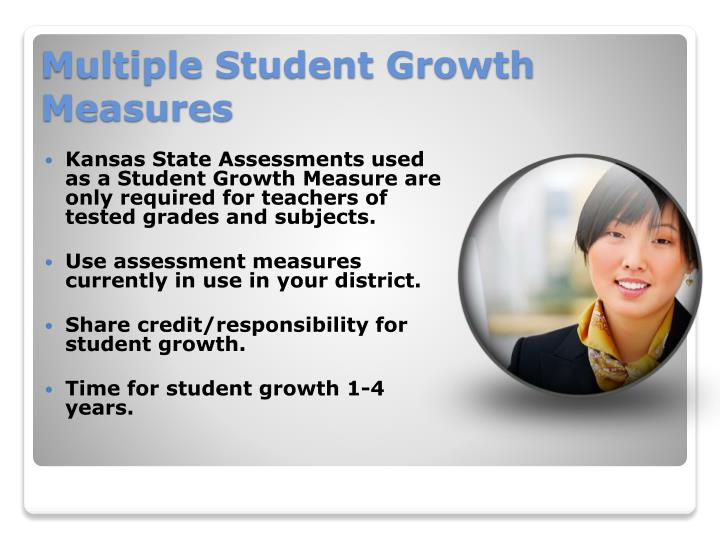 Kansas State Assessments used as a Student Growth Measure are only required for teachers of tested grades and subjects