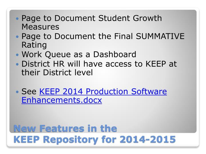Page to Document Student Growth Measures