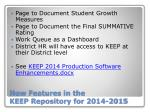new features in the keep repository for 2014 2015