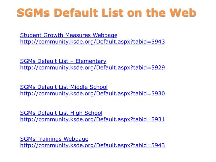 Student Growth Measures Webpage