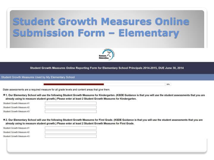 Student Growth Measures Online Submission Form – Elementary