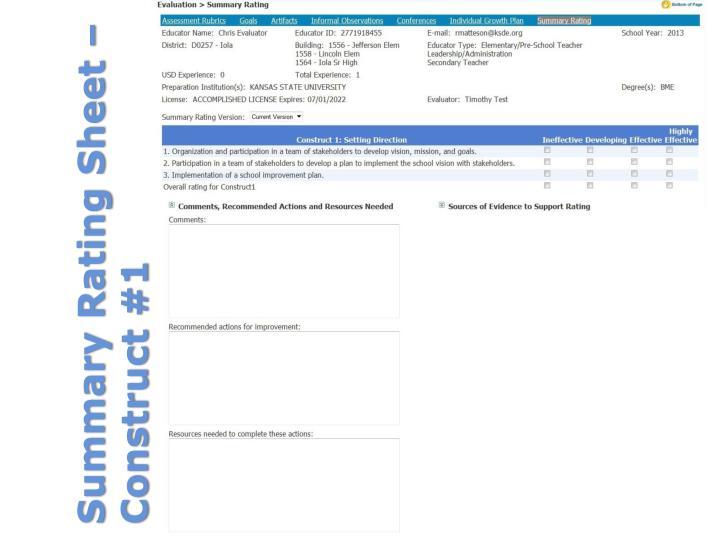 Summary Rating Sheet – Construct #1