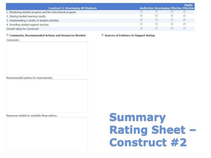 Summary Rating Sheet – Construct #2