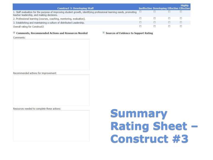 Summary Rating Sheet – Construct #3