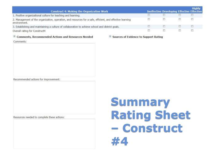 Summary Rating Sheet – Construct #4