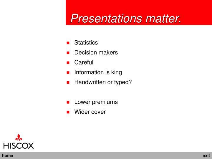 Presentations matter.