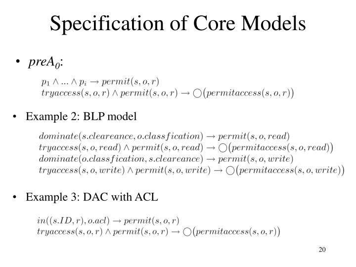 Specification of Core Models