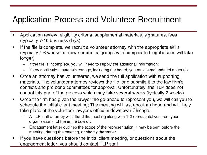 Application Process and Volunteer Recruitment