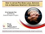 how to obtain pro bono legal services for an emerging nonprofit organization