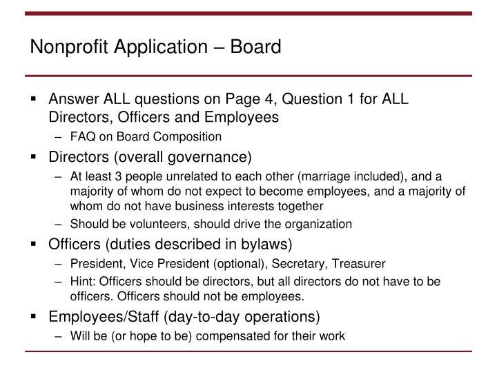 Nonprofit Application – Board