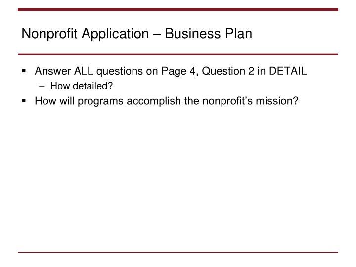 Nonprofit Application – Business Plan