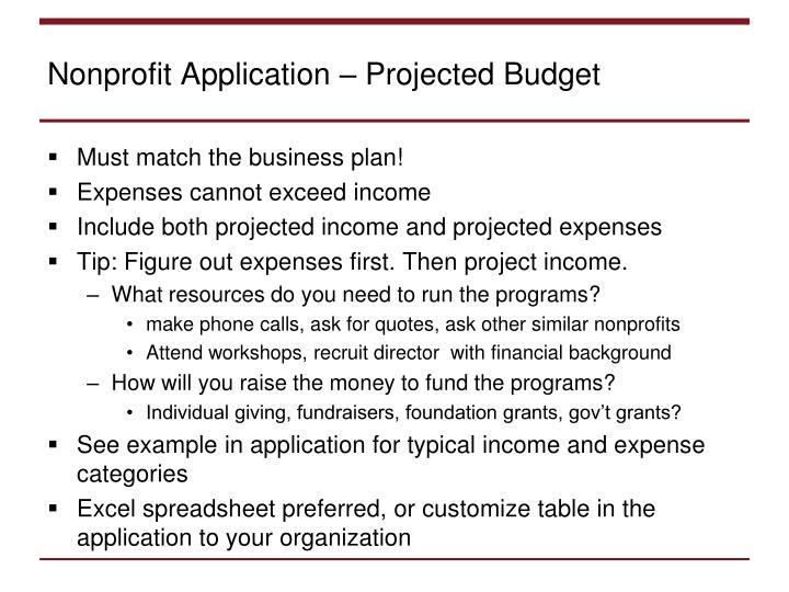 Nonprofit Application – Projected Budget