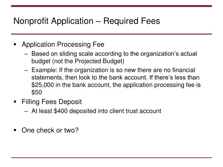 Nonprofit Application – Required Fees