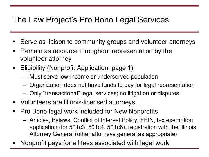 The Law Project's Pro Bono Legal Services
