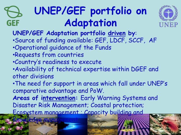 UNEP/GEF portfolio on Adaptation