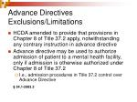advance directives exclusions limitations