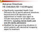 advance directives hb 2396 bell sb 1142 whipple