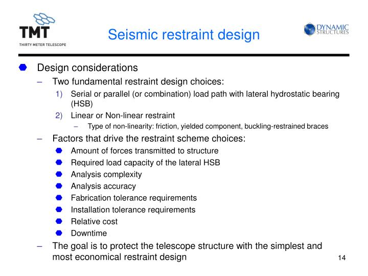 Seismic restraint design