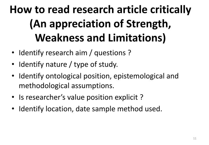 How to read research article critically