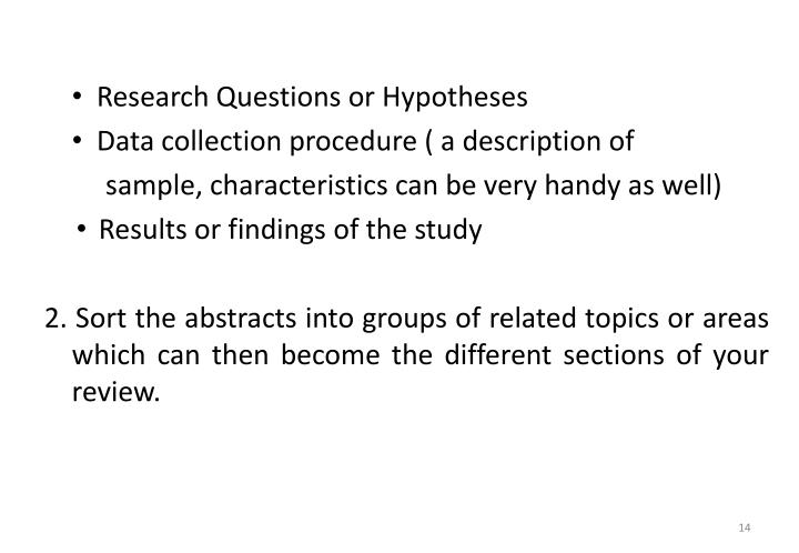 Research Questions or Hypotheses