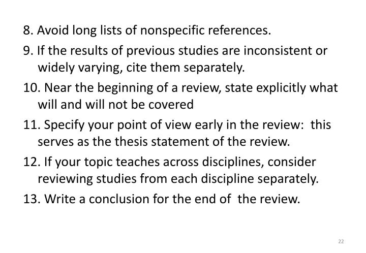8. Avoid long lists of nonspecific references.