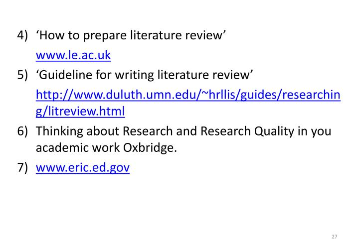 'How to prepare literature review'