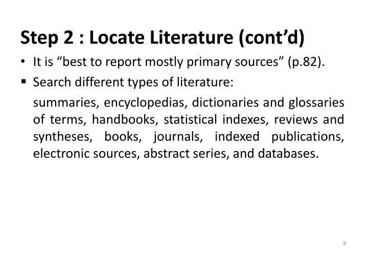 Step 2 : Locate Literature (cont'd)
