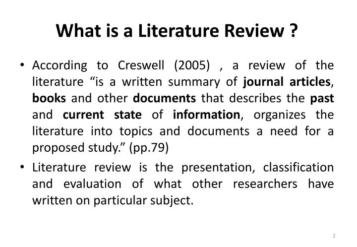 What is a Literature Review ?
