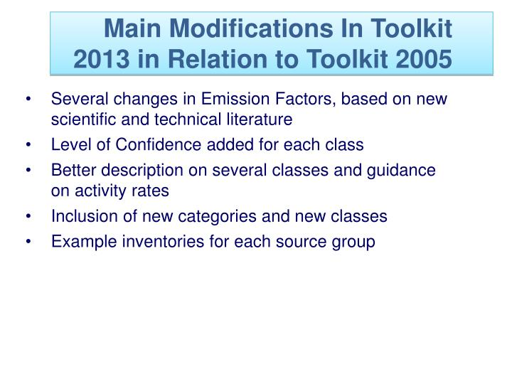 Main Modifications In Toolkit 2013 in Relation to Toolkit 2005