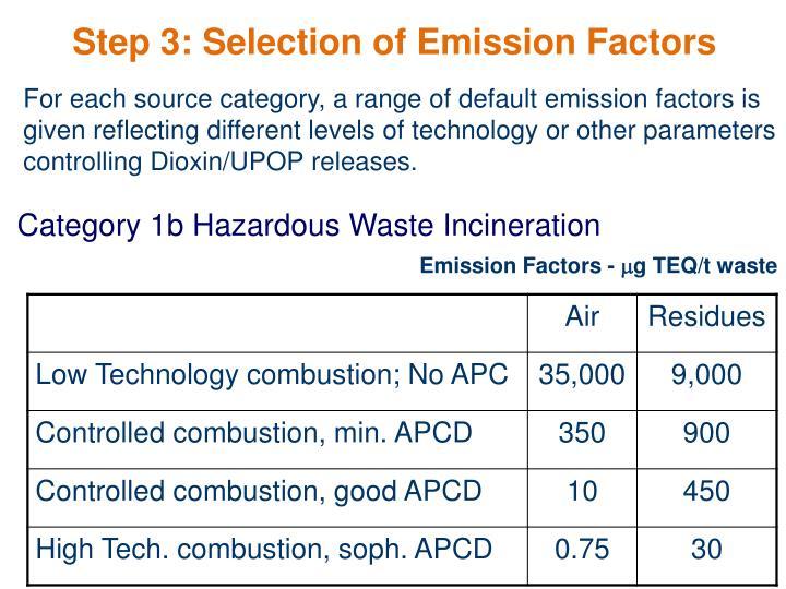 Step 3: Selection of Emission Factors