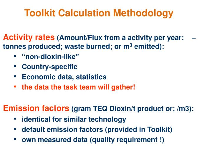 Toolkit Calculation Methodology