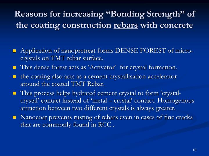 """Reasons for increasing """"Bonding Strength"""" of the coating construction"""