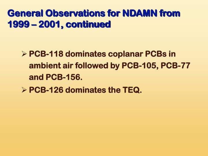 General Observations for NDAMN from 1999 – 2001, continued