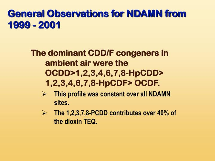 General Observations for NDAMN from 1999 - 2001