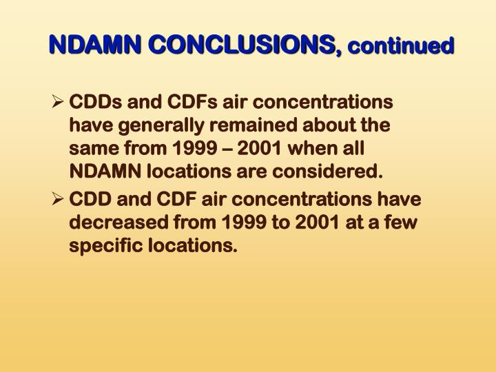 NDAMN CONCLUSIONS