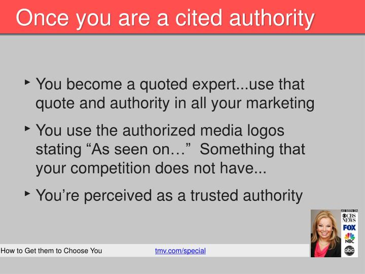 Once you are a cited authority