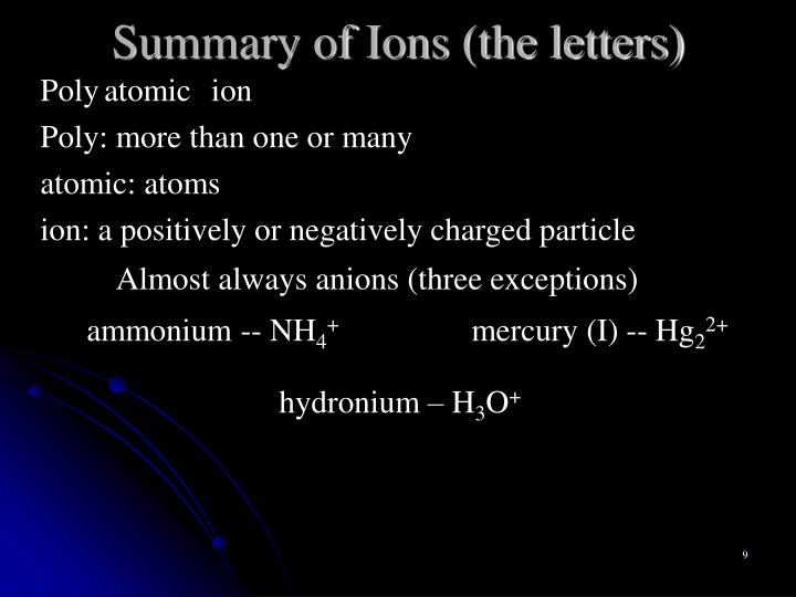 Summary of Ions (the letters)