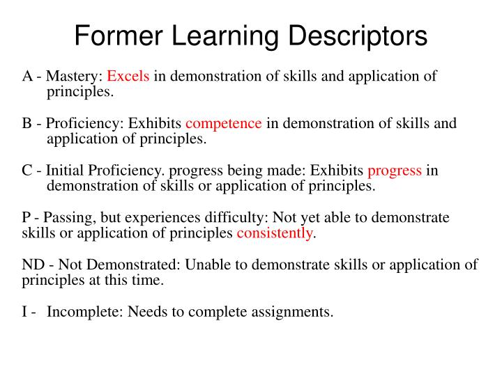 Former Learning Descriptors