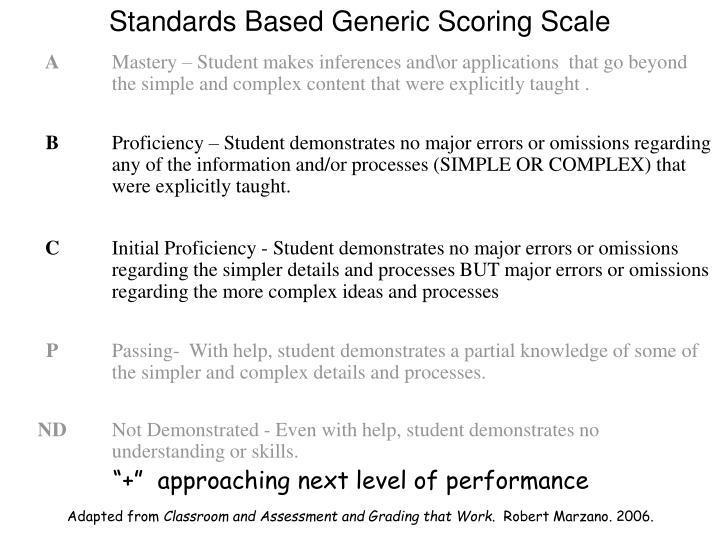 Standards Based Generic Scoring Scale