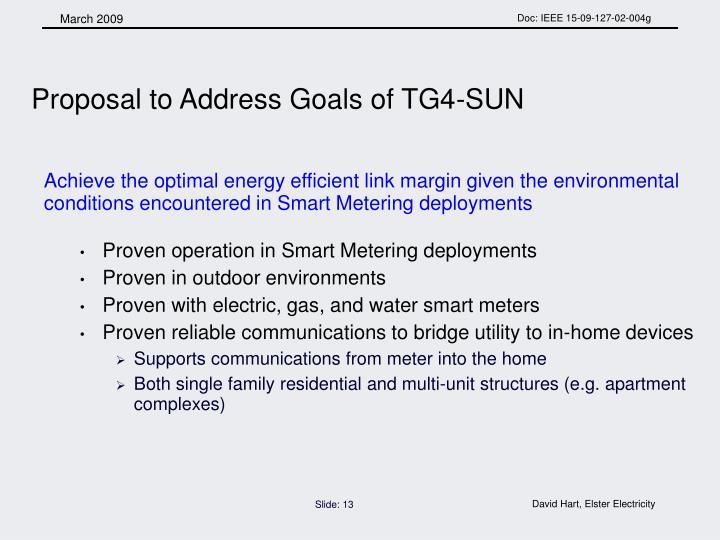 Proposal to Address Goals of TG4-SUN