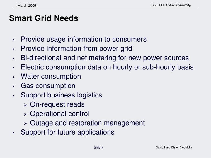 Smart Grid Needs
